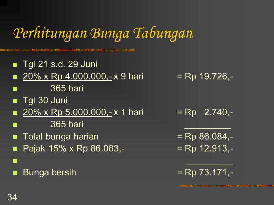 34 Perhitungan Bunga Tabungan Tgl 21 s.d. 29 Juni 20% x Rp 4.000.000,- x 9 hari= Rp 19.726,- 365 hari Tgl 30 Juni 20% x Rp 5.000.000,- x 1 hari= Rp 2.