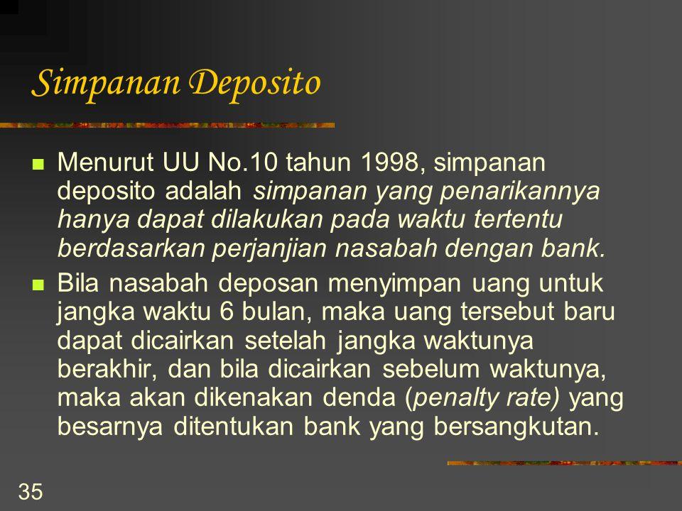 35 Simpanan Deposito Menurut UU No.10 tahun 1998, simpanan deposito adalah simpanan yang penarikannya hanya dapat dilakukan pada waktu tertentu berdas