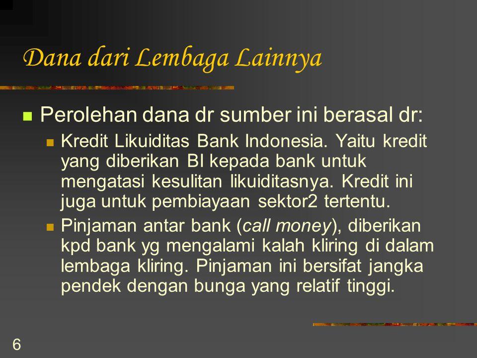 6 Dana dari Lembaga Lainnya Perolehan dana dr sumber ini berasal dr: Kredit Likuiditas Bank Indonesia. Yaitu kredit yang diberikan BI kepada bank untu