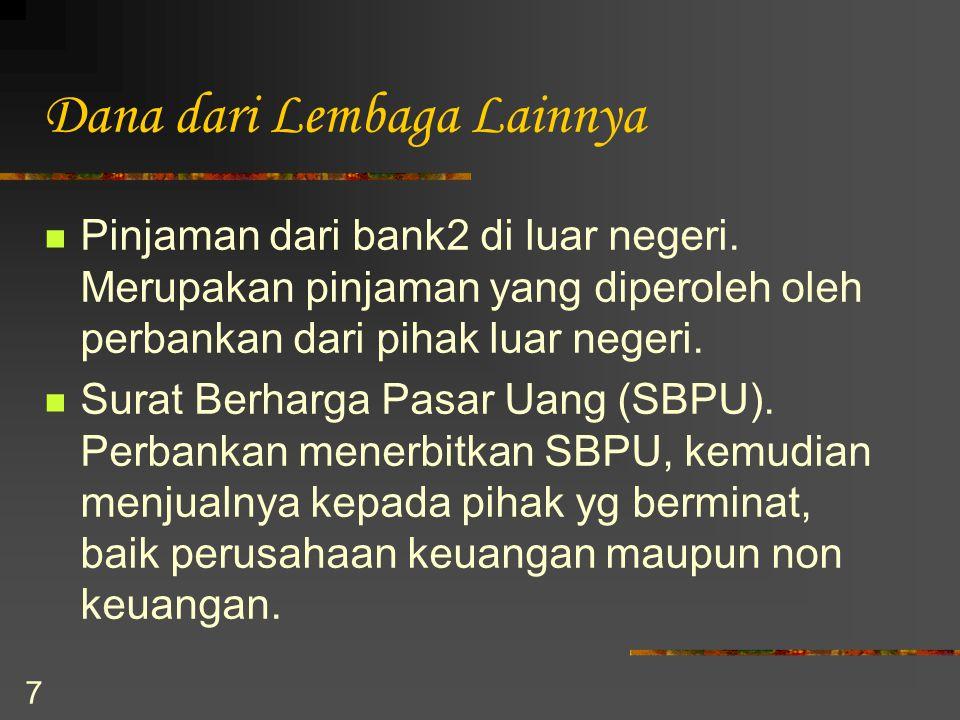 7 Dana dari Lembaga Lainnya Pinjaman dari bank2 di luar negeri. Merupakan pinjaman yang diperoleh oleh perbankan dari pihak luar negeri. Surat Berharg