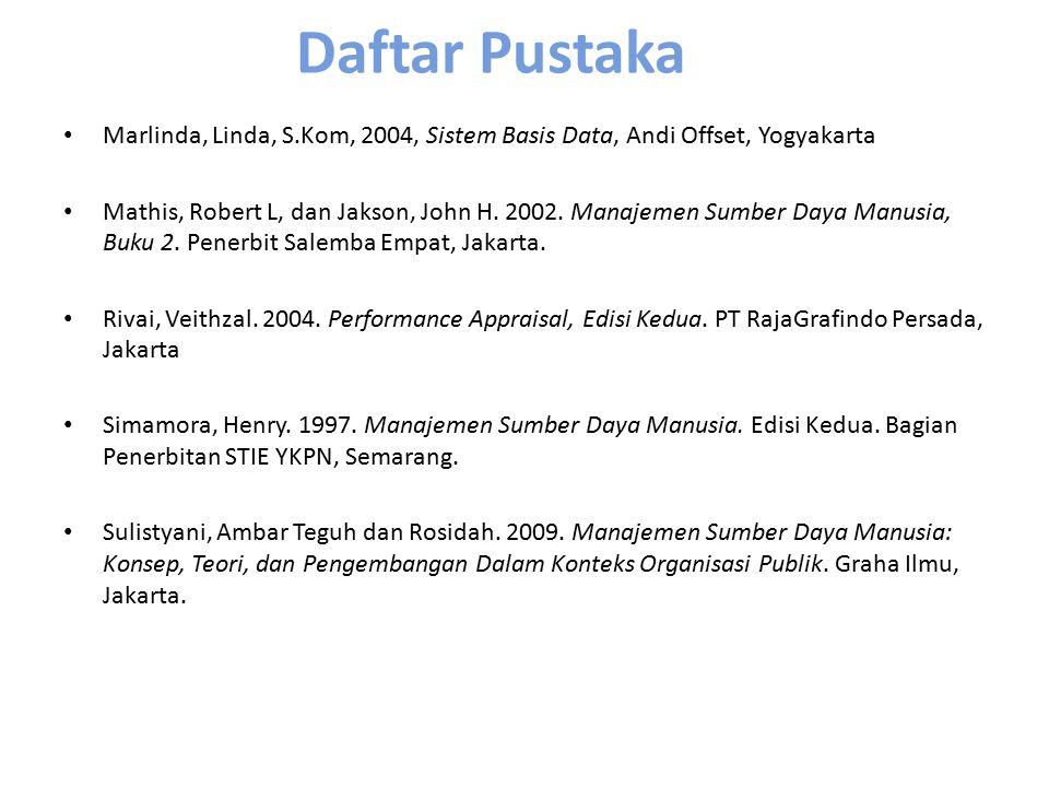 Daftar Pustaka Marlinda, Linda, S.Kom, 2004, Sistem Basis Data, Andi Offset, Yogyakarta Mathis, Robert L, dan Jakson, John H. 2002. Manajemen Sumber D