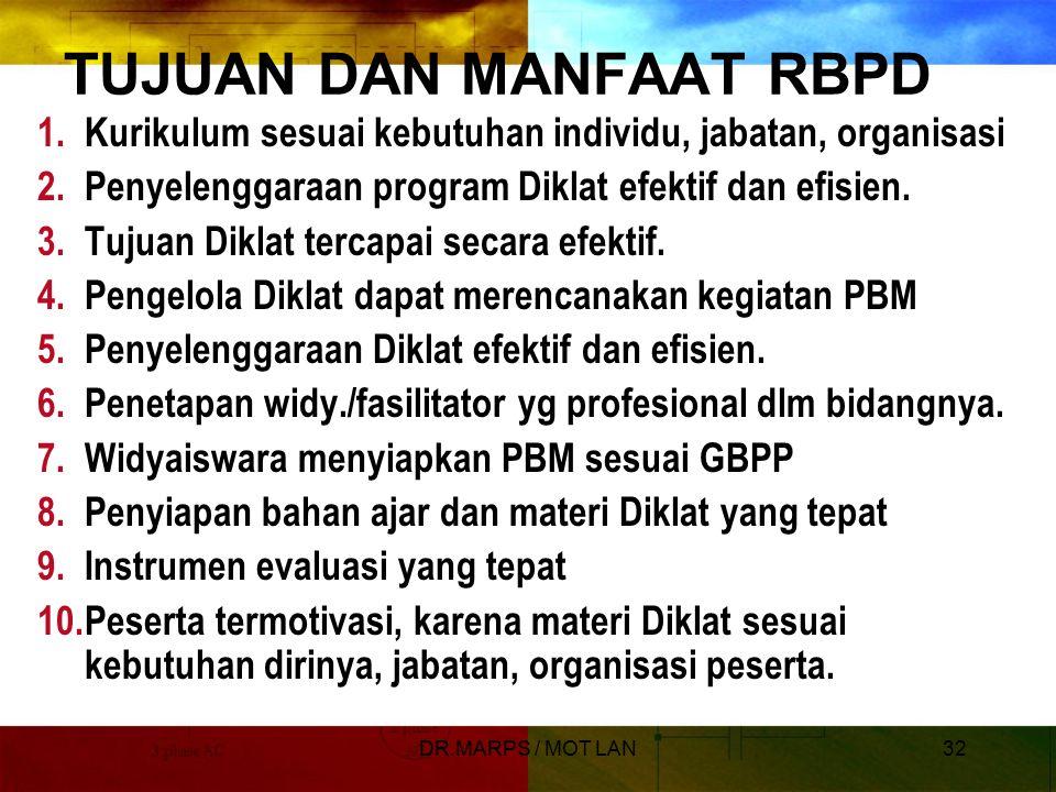 DR.MARPS / MOT LAN31 Rancang Bangun Program Diklat  RBPD adalah: Suatu proses kegiatan membuat atau menyusun secara garis besar hal-hal apa saja yang akan dipelajari dalam suatu diklat, sehingga kompetensi kerja peserta diklat berubah dan peserta dapat berprestasi lebih baik dalam jabatannya.