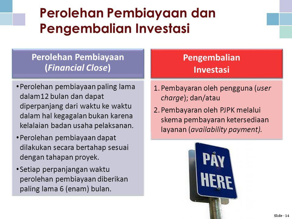 Perolehan Pembiayaan dan Pengembalian Investasi Slide - 14 Perolehan Pembiayaan (Financial Close) 1.Pembayaran oleh pengguna (user charge); dan/atau 2.Pembayaran oleh PJPK melalui skema pembayaran ketersediaan layanan (availability payment).