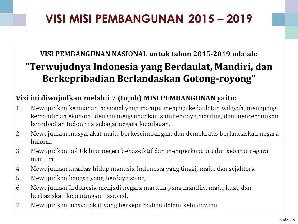 VISI MISI PEMBANGUNAN 2015 – 2019 VISI PEMBANGUNAN NASIONAL untuk tahun 2015-2019 adalah: Terwujudnya Indonesia yang Berdaulat, Mandiri, dan Berkepribadian Berlandaskan Gotong-royong Visi ini diwujudkan melalui 7 (tujuh) MISI PEMBANGUNAN yaitu: 1.Mewujudkan keamanan nasional yang mampu menjaga kedaulatan wilayah, menopang kemandirian ekonomi dengan mengamankan sumber daya maritim, dan mencerminkan kepribadian Indonesia sebagai negara kepulauan.