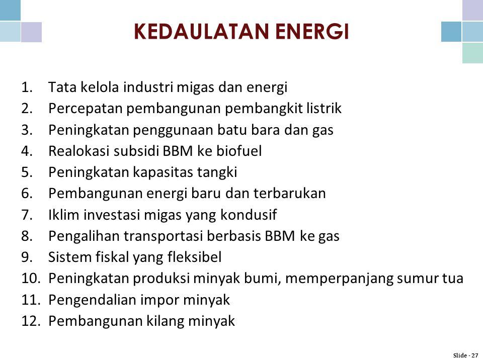 1.Tata kelola industri migas dan energi 2.Percepatan pembangunan pembangkit listrik 3.Peningkatan penggunaan batu bara dan gas 4.Realokasi subsidi BBM ke biofuel 5.Peningkatan kapasitas tangki 6.Pembangunan energi baru dan terbarukan 7.Iklim investasi migas yang kondusif 8.Pengalihan transportasi berbasis BBM ke gas 9.Sistem fiskal yang fleksibel 10.Peningkatan produksi minyak bumi, memperpanjang sumur tua 11.Pengendalian impor minyak 12.Pembangunan kilang minyak KEDAULATAN ENERGI Slide - 27
