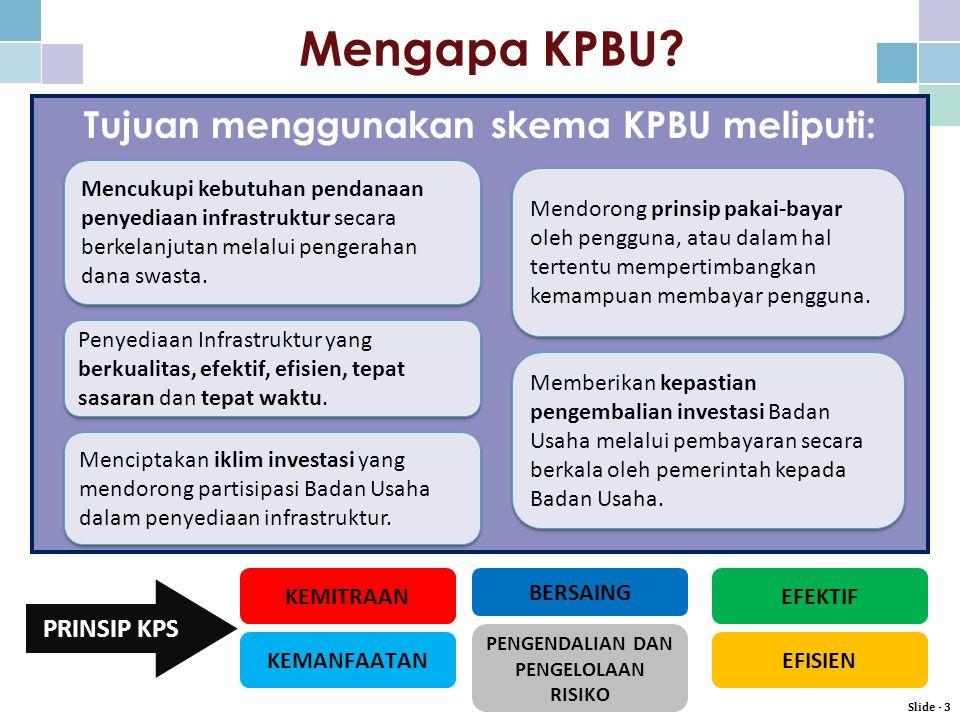 Tujuan menggunakan skema KPBU meliputi: Menciptakan iklim investasi yang mendorong partisipasi Badan Usaha dalam penyediaan infrastruktur.