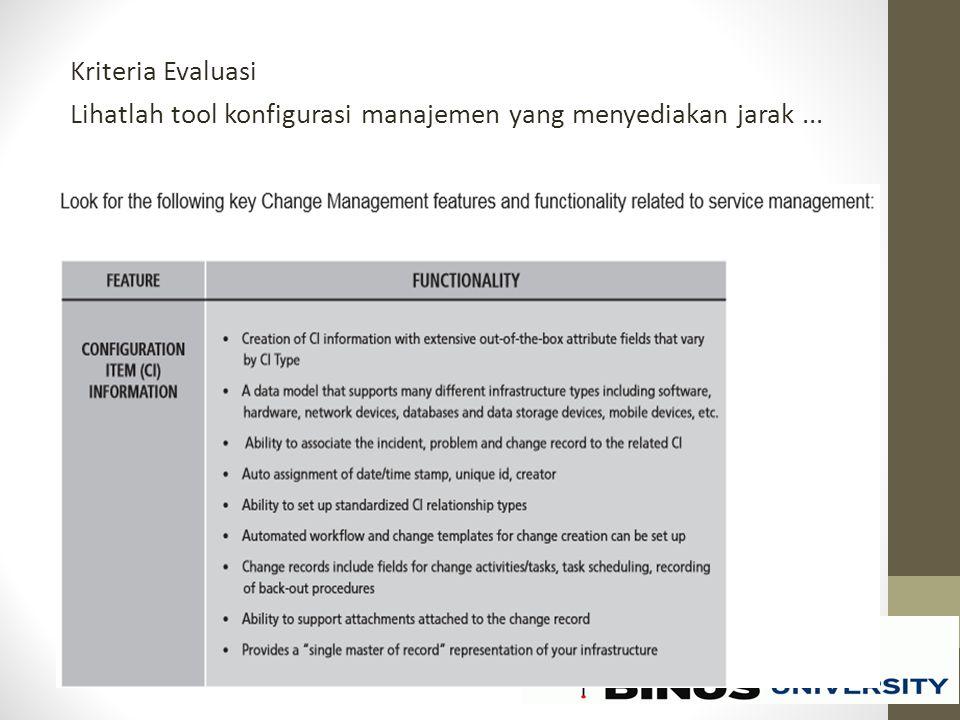 Kriteria Evaluasi Lihatlah tool konfigurasi manajemen yang menyediakan jarak...