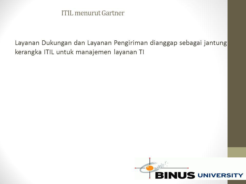 ITIL menurut Gartner Layanan Dukungan dan Layanan Pengiriman dianggap sebagai jantung kerangka ITIL untuk manajemen layanan TI