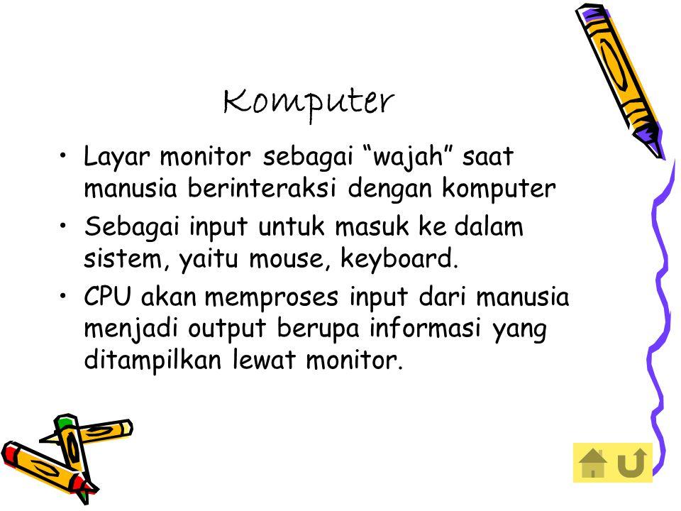 Komputer Layar monitor sebagai wajah saat manusia berinteraksi dengan komputer Sebagai input untuk masuk ke dalam sistem, yaitu mouse, keyboard.
