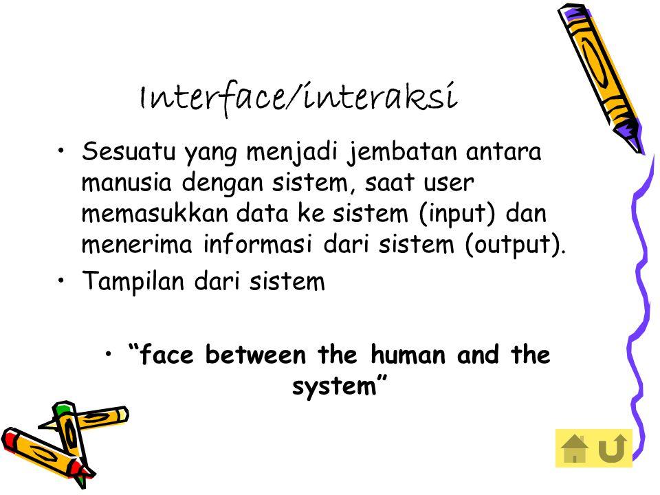 Interface/interaksi Sesuatu yang menjadi jembatan antara manusia dengan sistem, saat user memasukkan data ke sistem (input) dan menerima informasi dari sistem (output).
