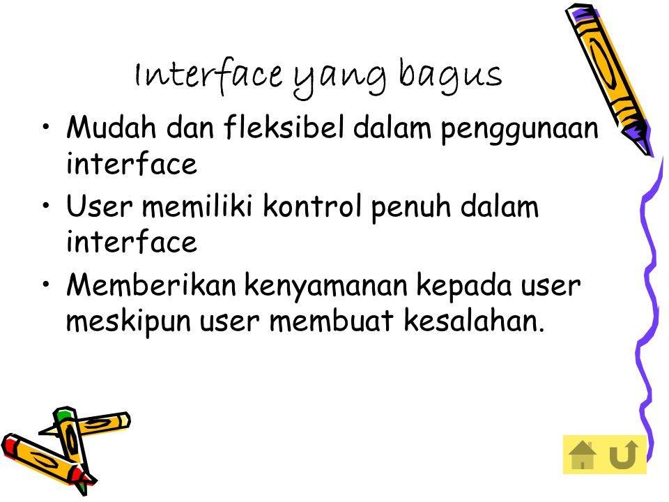 Interface yang bagus Mudah dan fleksibel dalam penggunaan interface User memiliki kontrol penuh dalam interface Memberikan kenyamanan kepada user meskipun user membuat kesalahan.