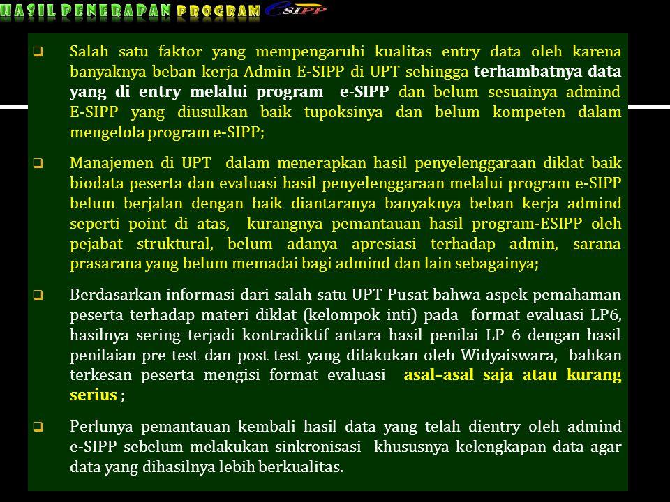  Salah satu faktor yang mempengaruhi kualitas entry data oleh karena banyaknya beban kerja Admin E-SIPP di UPT sehingga terhambatnya data yang di ent
