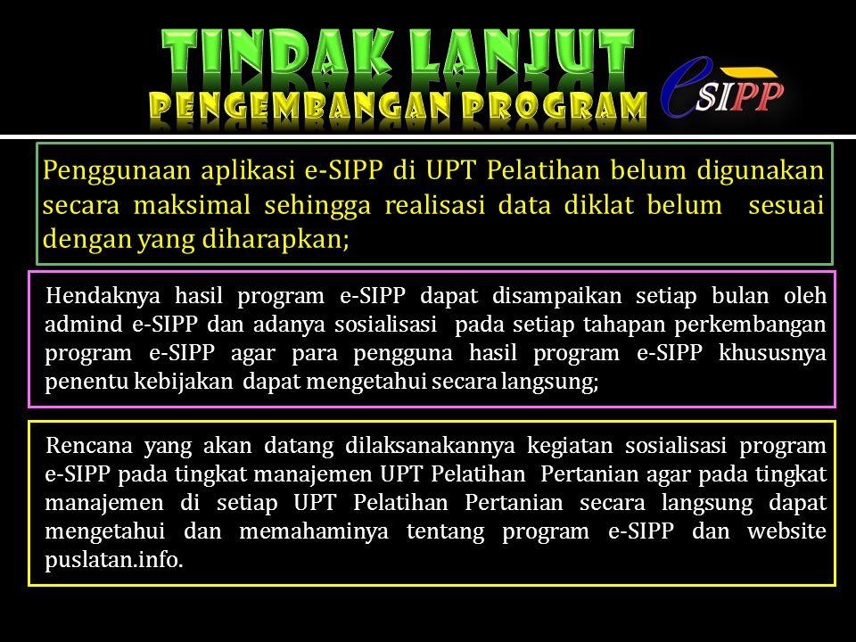 Penggunaan aplikasi e-SIPP di UPT Pelatihan belum digunakan secara maksimal sehingga realisasi data diklat belum sesuai dengan yang diharapkan; Hendak