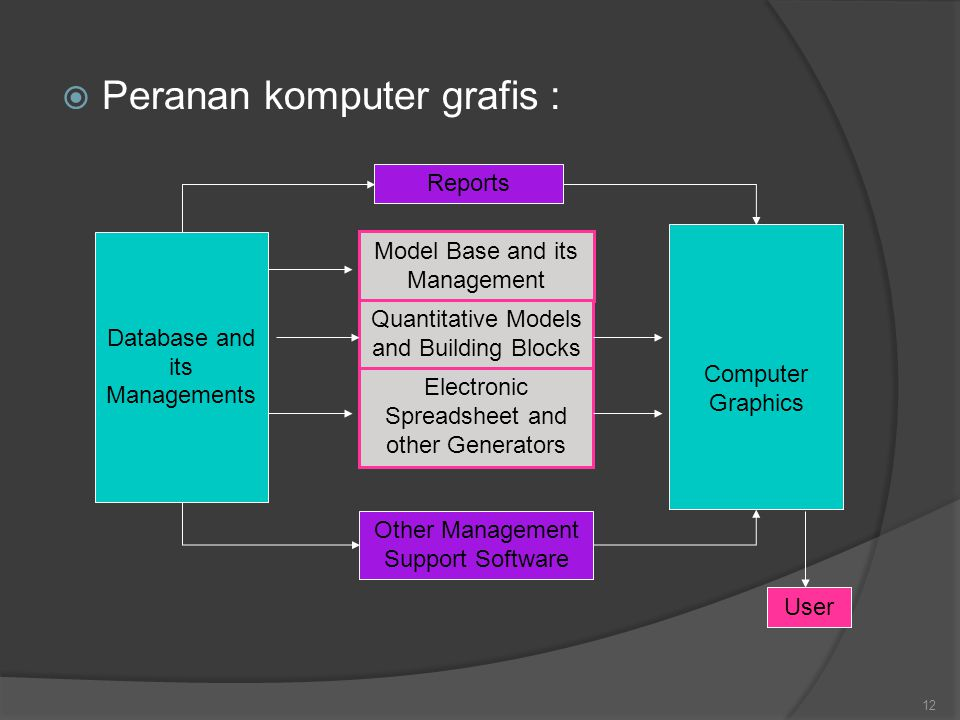  Peranan komputer grafis : 12 Model Base and its Management Quantitative Models and Building Blocks Electronic Spreadsheet and other Generators Other