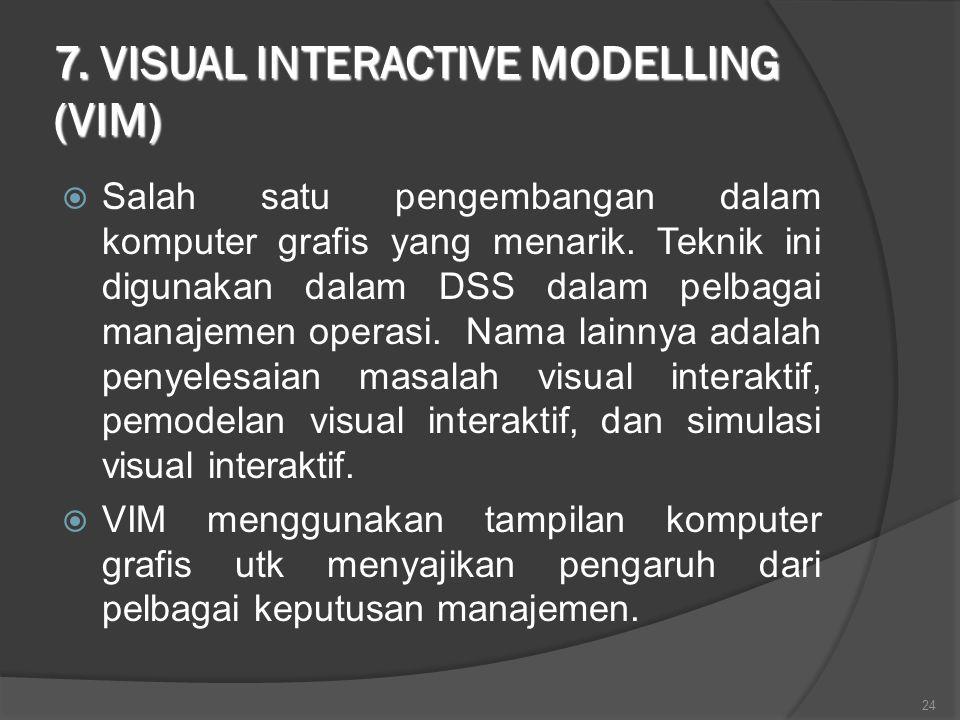 7. VISUAL INTERACTIVE MODELLING (VIM)  Salah satu pengembangan dalam komputer grafis yang menarik. Teknik ini digunakan dalam DSS dalam pelbagai mana