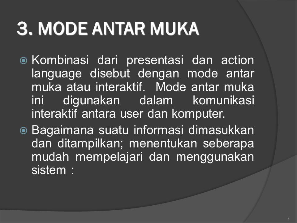 3. MODE ANTAR MUKA  Kombinasi dari presentasi dan action language disebut dengan mode antar muka atau interaktif. Mode antar muka ini digunakan dalam