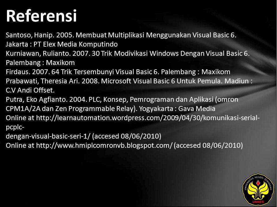 Referensi Santoso, Hanip. 2005. Membuat Multiplikasi Menggunakan Visual Basic 6.