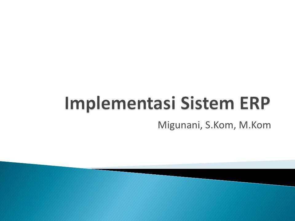  Sistem ERP merupakan sistem yang besar dan kompleks ◦ Berpengaruh pada sebagian besar departemen ◦ Volume data sangat besar ◦ Investasi tidak sedikit ◦ Keberhasilan implementasi dipengaruhi banyak aspek  Faktor-faktor yang mempengaruhi ◦ Infrastructure, manufacturing, IT maturity, goverment, business size, regional, BPR experience