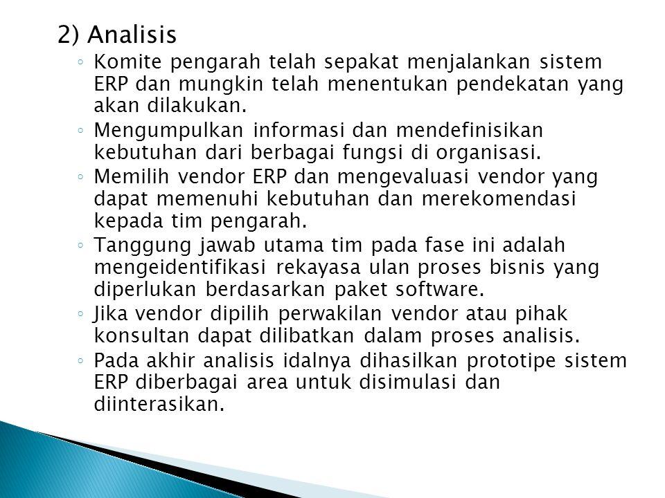 2) Analisis ◦ Komite pengarah telah sepakat menjalankan sistem ERP dan mungkin telah menentukan pendekatan yang akan dilakukan. ◦ Mengumpulkan informa