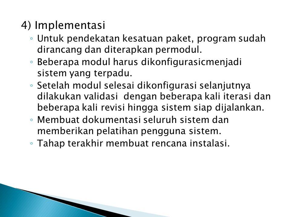 4) Implementasi ◦ Untuk pendekatan kesatuan paket, program sudah dirancang dan diterapkan permodul. ◦ Beberapa modul harus dikonfigurasicmenjadi siste