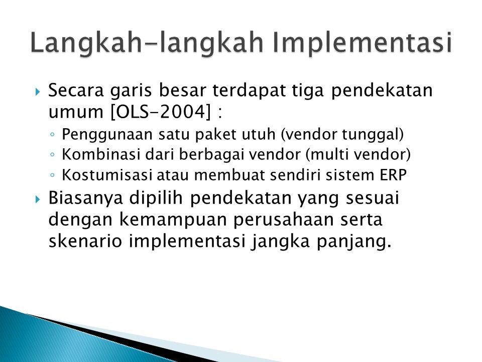  Langkah-langkah umum implementasi ERP tidak jauh berbeda dengan tahapan sistem informasi lainya : 1)Membangun organisasi tim proyek 2)Menentukan pendekatan implementasi 3)Membangun rencana implementasi 4)Menentukan kriteria keberhasilan dan metode pengukuranya