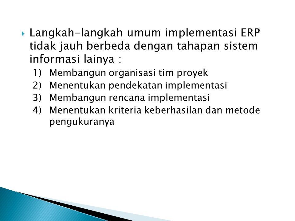 Langkah-langkah umum implementasi ERP tidak jauh berbeda dengan tahapan sistem informasi lainya : 1)Membangun organisasi tim proyek 2)Menentukan pen