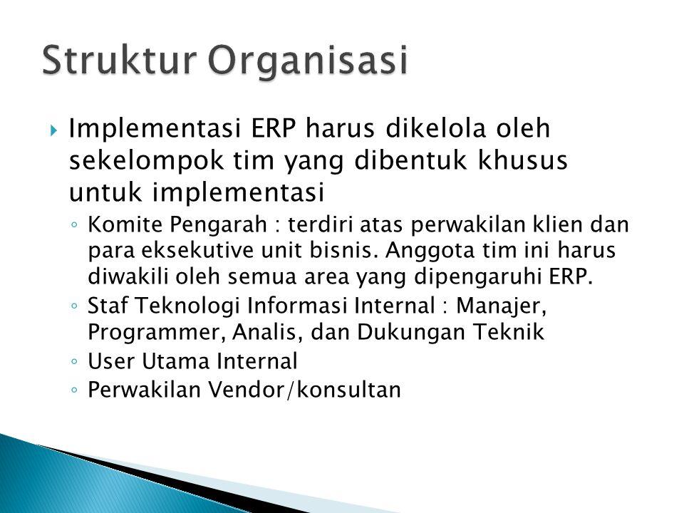  Implementasi ERP harus dikelola oleh sekelompok tim yang dibentuk khusus untuk implementasi ◦ Komite Pengarah : terdiri atas perwakilan klien dan pa