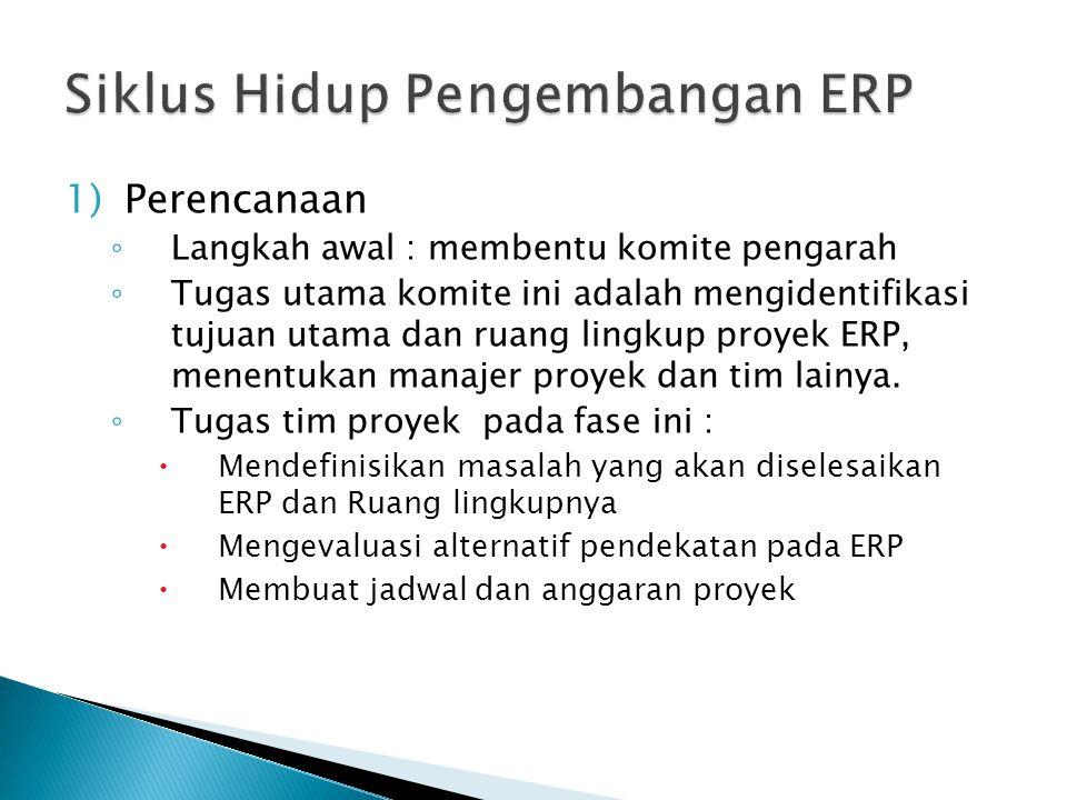 1)Perencanaan ◦ Langkah awal : membentu komite pengarah ◦ Tugas utama komite ini adalah mengidentifikasi tujuan utama dan ruang lingkup proyek ERP, me