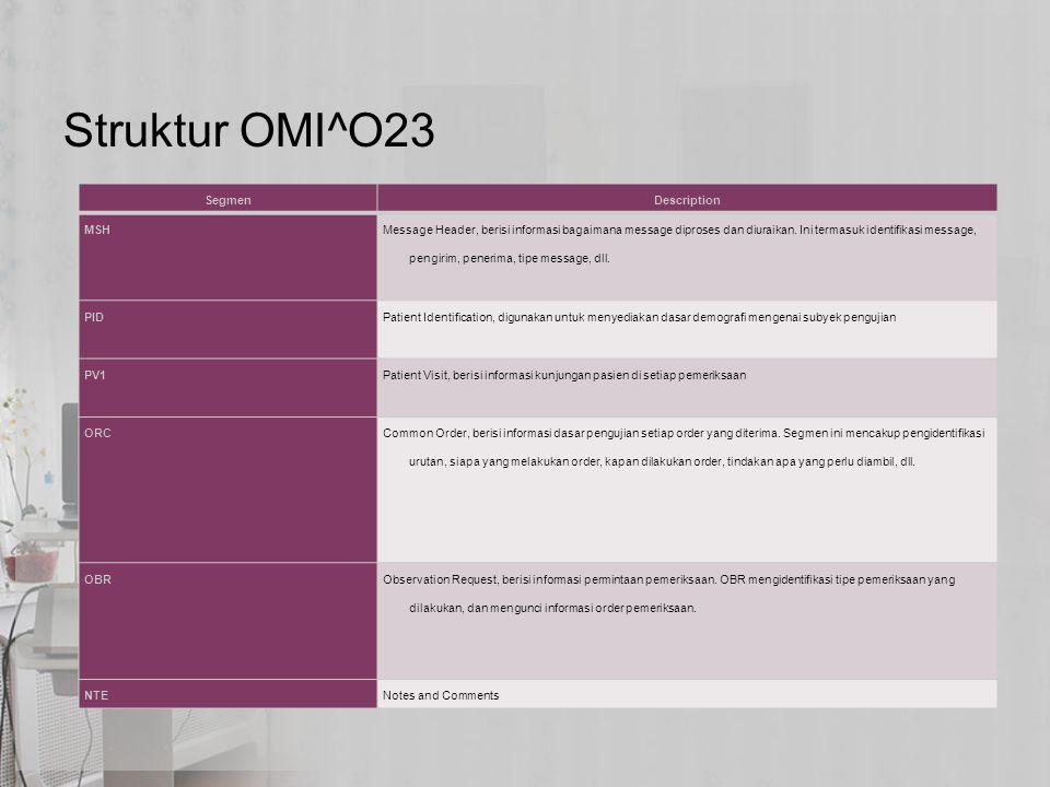 Struktur OMI^O23 SegmenDescription MSH Message Header, berisi informasi bagaimana message diproses dan diuraikan. Ini termasuk identifikasi message, p