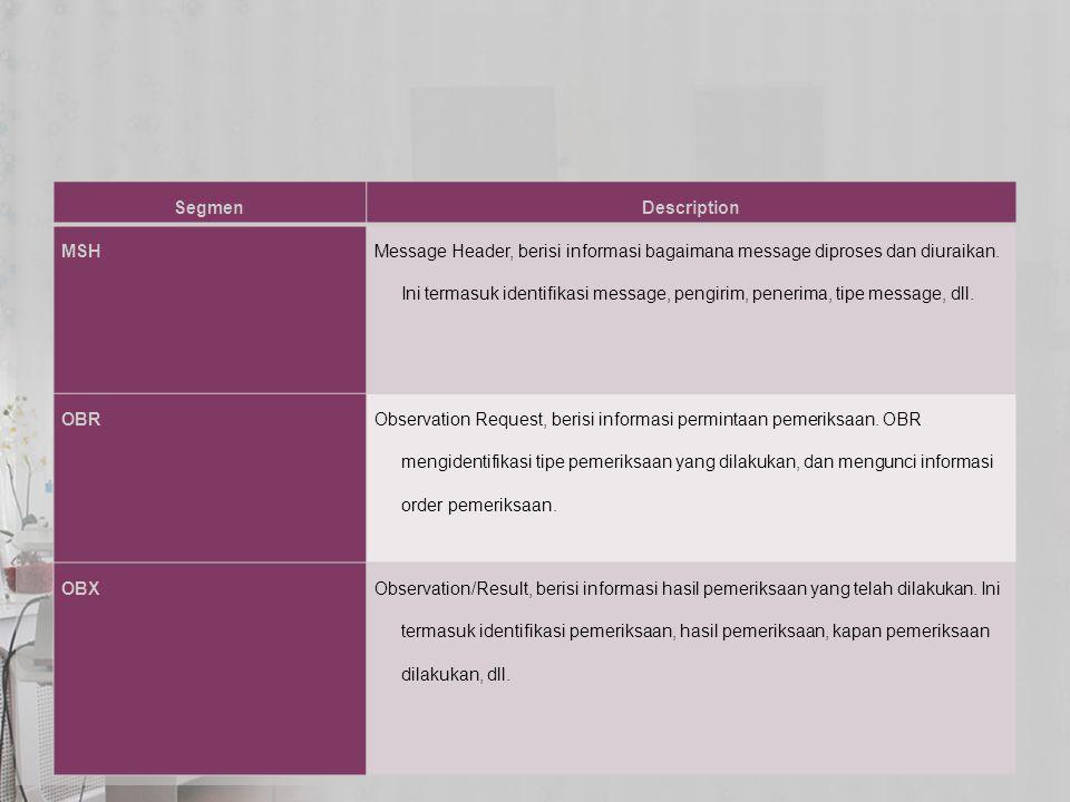 SegmenDescription MSH Message Header, berisi informasi bagaimana message diproses dan diuraikan. Ini termasuk identifikasi message, pengirim, penerima