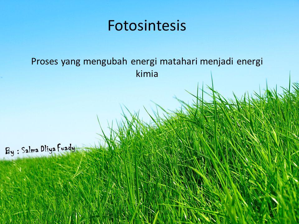 Fotosintesis Proses yang mengubah energi matahari menjadi energi kimia By : Salma Dliya Fuady