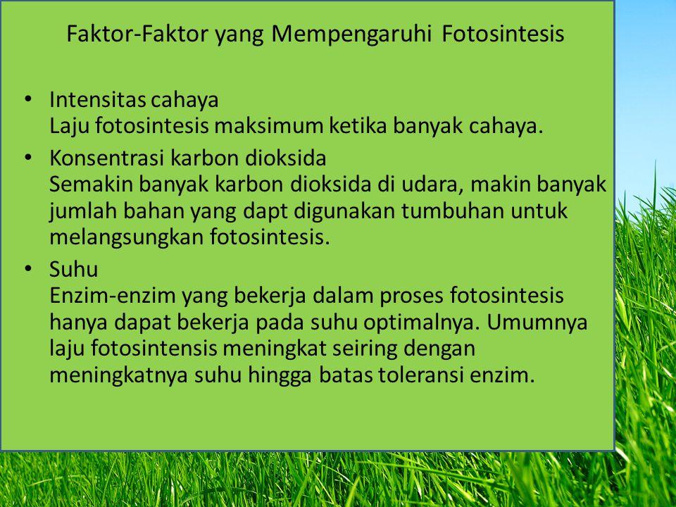 Faktor-Faktor yang Mempengaruhi Fotosintesis Intensitas cahaya Laju fotosintesis maksimum ketika banyak cahaya. Konsentrasi karbon dioksida Semakin ba