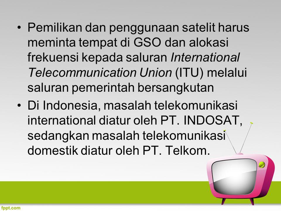Pemilikan dan penggunaan satelit harus meminta tempat di GSO dan alokasi frekuensi kepada saluran International Telecommunication Union (ITU) melalui