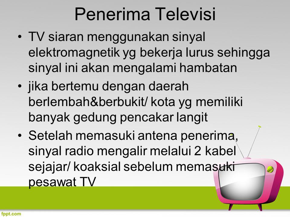 Penerima Televisi TV siaran menggunakan sinyal elektromagnetik yg bekerja lurus sehingga sinyal ini akan mengalami hambatan jika bertemu dengan daerah