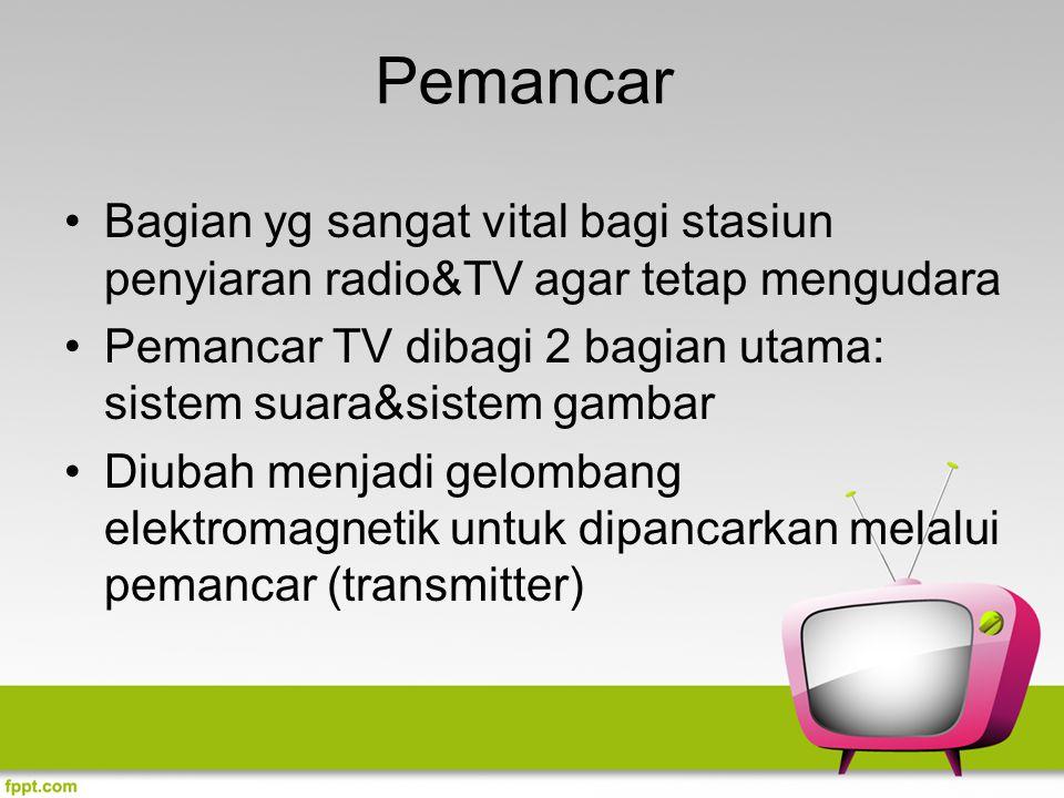 Pemancar Bagian yg sangat vital bagi stasiun penyiaran radio&TV agar tetap mengudara Pemancar TV dibagi 2 bagian utama: sistem suara&sistem gambar Diu