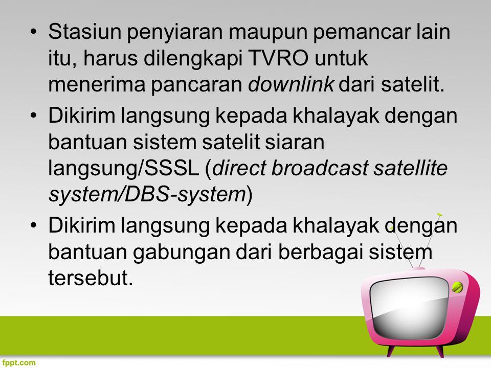 Stasiun penyiaran maupun pemancar lain itu, harus dilengkapi TVRO untuk menerima pancaran downlink dari satelit. Dikirim langsung kepada khalayak deng