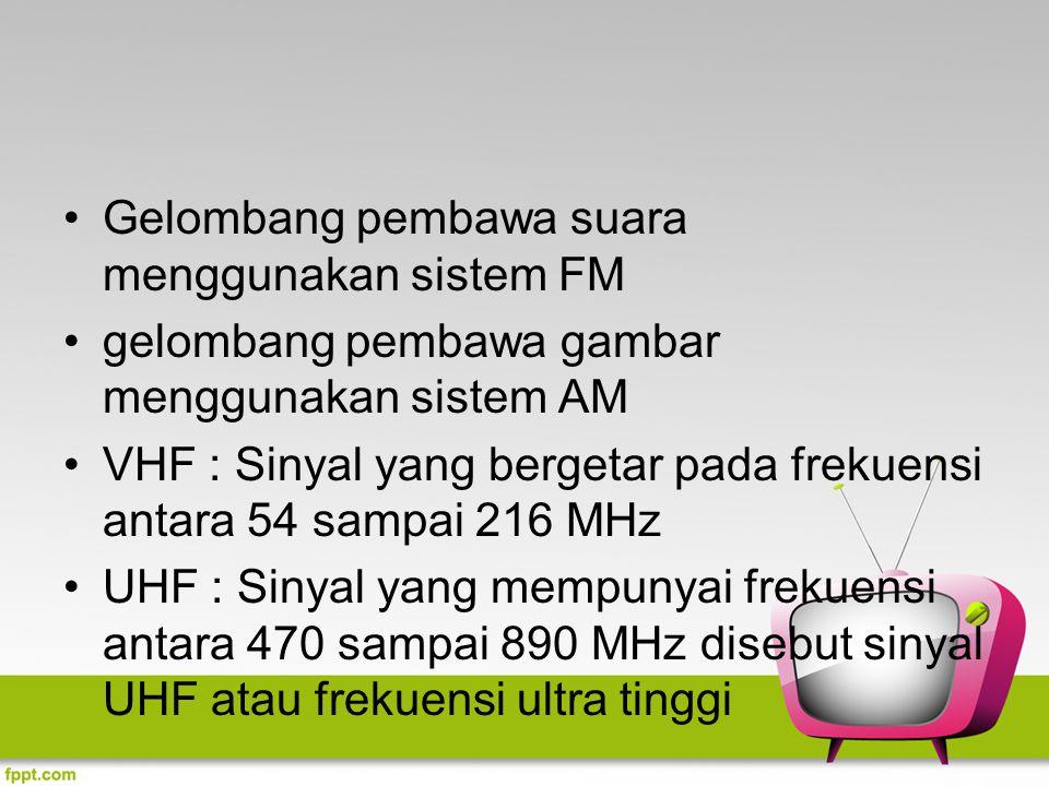 Gelombang pembawa suara menggunakan sistem FM gelombang pembawa gambar menggunakan sistem AM VHF : Sinyal yang bergetar pada frekuensi antara 54 sampa