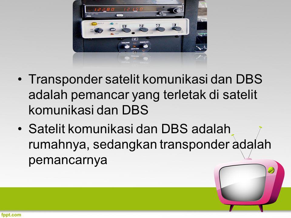 Transponder satelit komunikasi dan DBS adalah pemancar yang terletak di satelit komunikasi dan DBS Satelit komunikasi dan DBS adalah rumahnya, sedangk