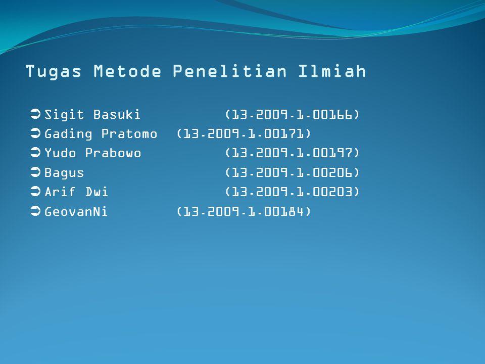 Tugas Metode Penelitian Ilmiah  Sigit Basuki(13.2009.1.00166)  Gading Pratomo(13.2009.1.00171)  Yudo Prabowo(13.2009.1.00197)  Bagus (13.2009.1.00206)  Arif Dwi(13.2009.1.00203)  GeovanNi(13.2009.1.00184)