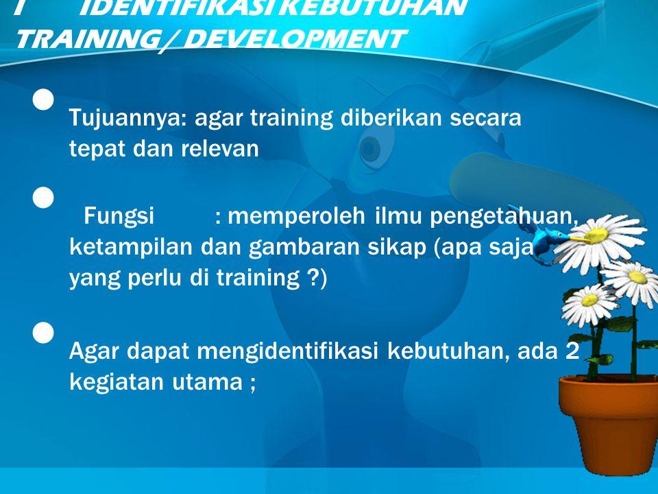 I IDENTIFIKASI KEBUTUHAN TRAINING / DEVELOPMENT Tujuannya: agar training diberikan secara tepat dan relevan Fungsi: memperoleh ilmu pengetahuan, ketam