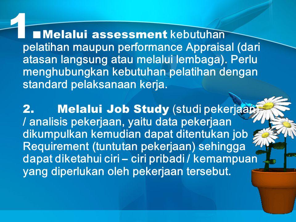 1. Melalui assessment kebutuhan pelatihan maupun performance Appraisal (dari atasan langsung atau melalui lembaga). Perlu menghubungkan kebutuhan pela