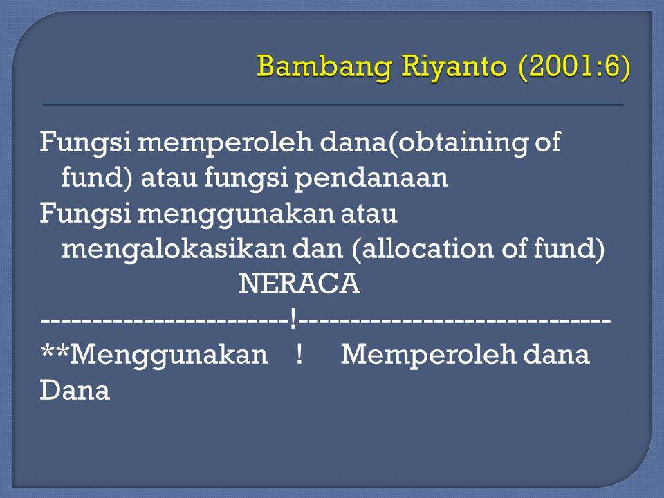 Fungsi memperoleh dana(obtaining of fund) atau fungsi pendanaan Fungsi menggunakan atau mengalokasikan dan (allocation of fund) NERACA ---------------