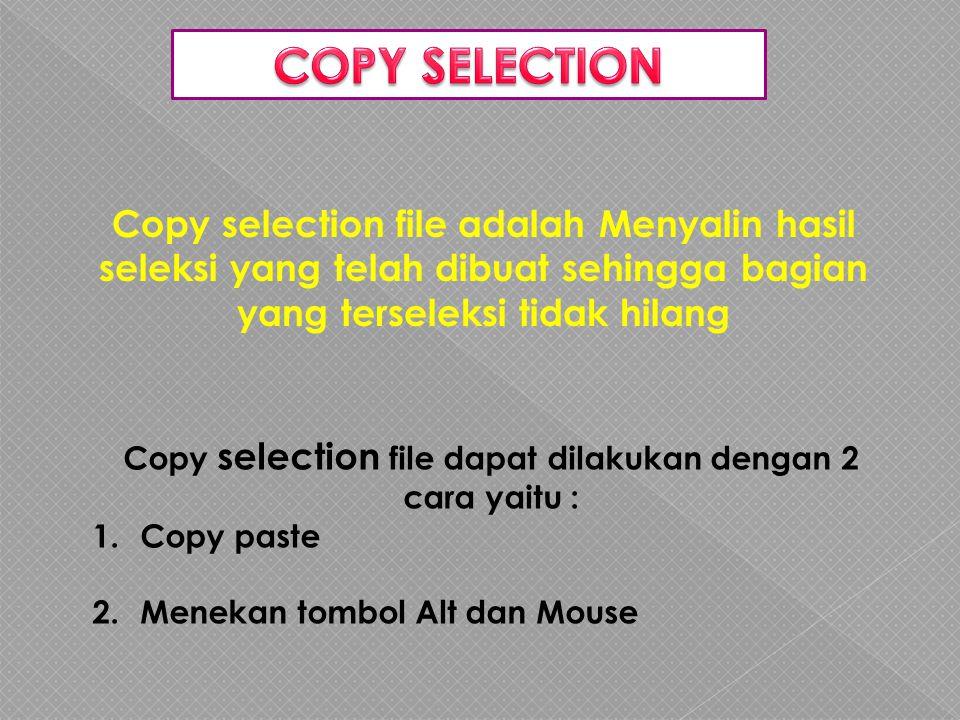 Copy selection file adalah Menyalin hasil seleksi yang telah dibuat sehingga bagian yang terseleksi tidak hilang Copy selection file dapat dilakukan dengan 2 cara yaitu : 1.Copy paste 2.Menekan tombol Alt dan Mouse