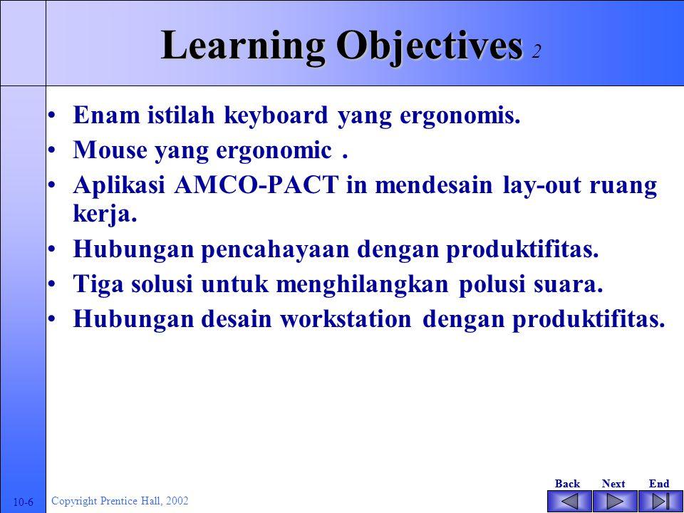 BackNextEndBackNextEnd 10-6 Copyright Prentice Hall, 2002 Learning Objectives Enam istilah keyboard yang ergonomis.
