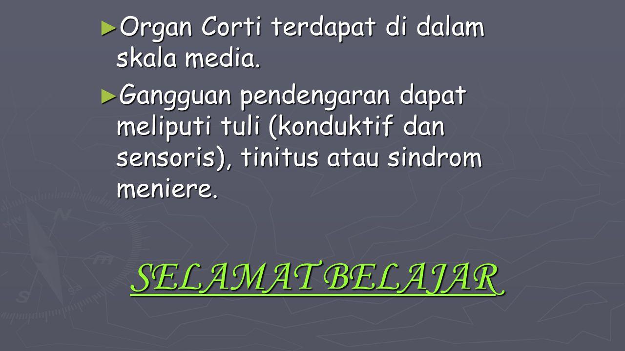 ► Organ Corti terdapat di dalam skala media. ► Gangguan pendengaran dapat meliputi tuli (konduktif dan sensoris), tinitus atau sindrom meniere. SELAMA
