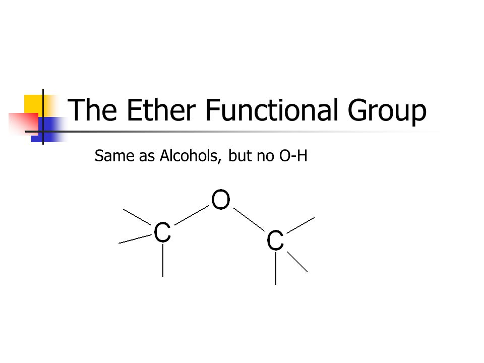 The Ether Functional Group Same as Alcohols, but no O-H