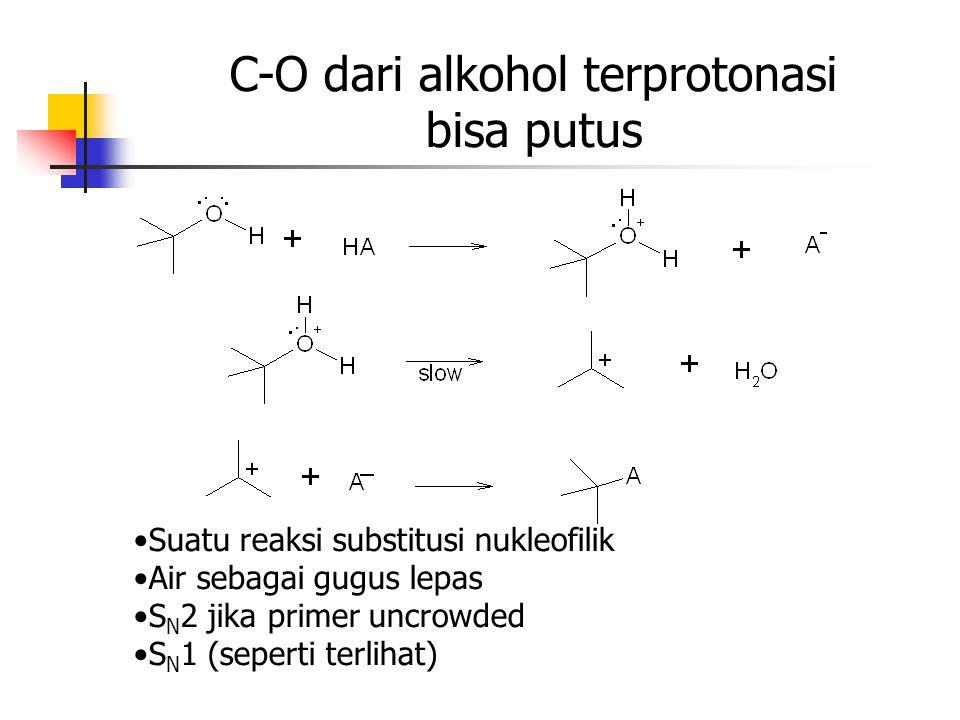 C-O dari alkohol terprotonasi bisa putus Suatu reaksi substitusi nukleofilik Air sebagai gugus lepas S N 2 jika primer uncrowded S N 1 (seperti terlih