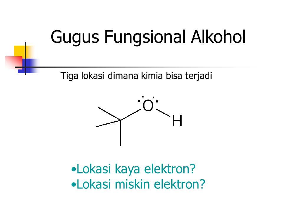Gugus Fungsional Alkohol Tiga lokasi dimana kimia bisa terjadi Lokasi kaya elektron? Lokasi miskin elektron?