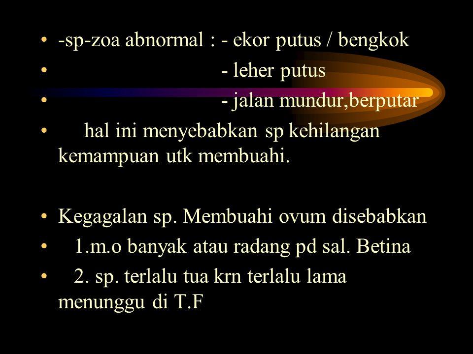 5.ovum bentuk lonjong 6. ovum terlalu kecil ukurannya. 7. ovum terlalu besar ukurannya 8.ovum yg sitiplasmanya ada vakuola > 9. ovum polar bodi > SPER