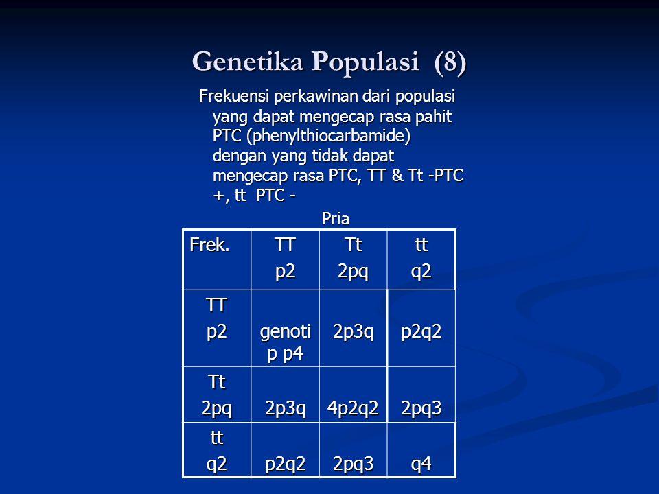 Genetika Populasi (8) Frekuensi perkawinan dari populasi yang dapat mengecap rasa pahit PTC (phenylthiocarbamide) dengan yang tidak dapat mengecap rasa PTC, TT & Tt -PTC +, tt PTC - Frekuensi perkawinan dari populasi yang dapat mengecap rasa pahit PTC (phenylthiocarbamide) dengan yang tidak dapat mengecap rasa PTC, TT & Tt -PTC +, tt PTC - Pria Pria Frek.TTp2Tt2pqttq2 TTp2 genoti p p4 2p3qp2q2 Tt2pq2p3q4p2q22pq3 ttq2p2q22pq3q4